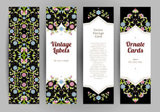 Vector set of ornate cards in Eastern style. Stock Photos