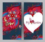 Floral cards, Valentine`s Day greetings. Royalty Free Stock Image