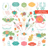 Vector set of ornate frames and scroll elements Royalty Free Stock Images