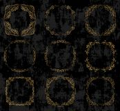 Vector set with ornate gold borders and frames royalty free illustration