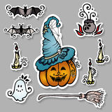 Vector Set of Ornate Halloween Decorations Stock Image