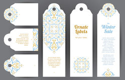 Vector set of ornate labels in Eastern style. stock illustration