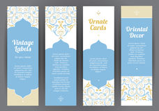 Vector set of ornate labels in Eastern style. Royalty Free Stock Photography
