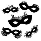 Vector Set of 5 Ornate Mask Stencils. Venetian Carnival, Mardi Gras, Shrove Tuesday Royalty Free Stock Image
