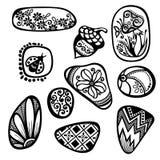 Vector Set of Ornate Pebbles Stock Photo