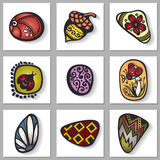 Vector Set of Ornate Pebbles with Long Shadow. Patterned design Stock Photography