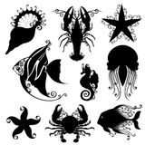 Vector Set of Ornate Sea Animals Stock Photos