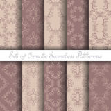 Vector Set of 10 Ornate Seamless Patterns in Vintage Linear Style Stock Image