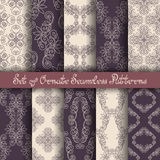 Vector Set of 10 Ornate Seamless Patterns in Vintage Linear Style Stock Photo