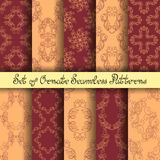 Vector Set of 10 Ornate Seamless Patterns. In Vintage Linear Style. Wedding Decor stock illustration