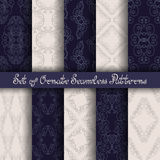 Vector Set of 10 Ornate Seamless Patterns. In Vintage Linear Style. Wedding Decor vector illustration