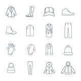 Vector Set of outerwear Icons Royalty Free Stock Image