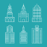 Vector set outline buildings and houses Stock Images