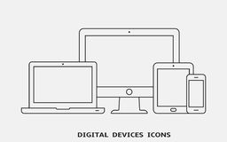 Vector set of outline device icons. Monitor, laptop, tablet pc and smartphone. Vector illustration royalty free illustration