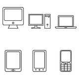 Vector Set of Device Icons. Personal Computer, Monitor, Laptop, Tablet PC, Smartphone and Cellphone. Vector Set of Outline Device Icons. Personal Computer Stock Photography