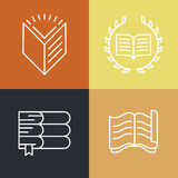 Vector set of outline education logos and icons Royalty Free Stock Images