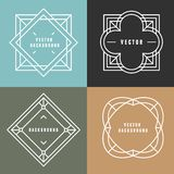 Vector set of outline emblems and badges Royalty Free Stock Image