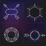 Vector set of outline emblems and badges Royalty Free Stock Photo