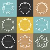 Vector set of outline emblems and badges. Abstract hipster logo templates Stock Images