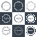 Vector set  outline emblems and badges - abstract hipster logo templates Royalty Free Stock Photo