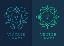 Vector set of outline emblems and badges Stock Photography