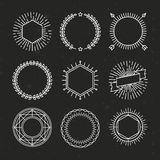 Vector set of outline emblems and badges Royalty Free Stock Images