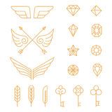 Vector set of outline emblems and badges Royalty Free Stock Photos
