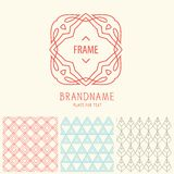 Vector set of outline emblems and patterns Royalty Free Stock Photos