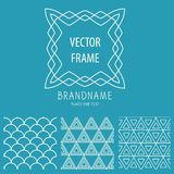 Vector set of outline emblems and patterns Stock Photography