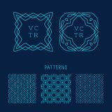 Vector set of outline emblems and patterns Stock Image