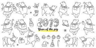 Vector set with outline happy pig in black isolated on white background. Symbol of Chinese New Year 2019 in contour style. vector illustration