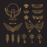 Vector set of outline hipster design elements Royalty Free Stock Images