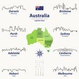 Vector outline icon sof Australia cities skylines. Vector set of outline icons of Australia cities skylines Royalty Free Stock Photo