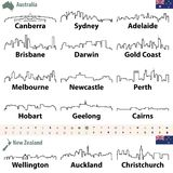Vector outline icon sof Australia and New Zealand cities skylines. Vector set of outline icons of Australia and New Zealand cities skylines Stock Image