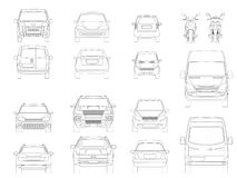 Vector set of outline icons cars. View of the side City transport. Vector set of outline icons cars. View of the side City transport Royalty Free Stock Images