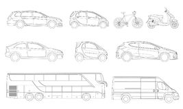 Vector set of outline icons cars. View to the side City transport. Vector set of outline icons cars. View to the side City transport Stock Image