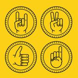 Vector set of outline icons - gestures and signs Royalty Free Stock Image