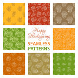 Vector set of outlined seamless Thanksgiving patterns. Royalty Free Stock Photo