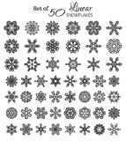 Vector Set of 50 Outlined Snowflakes. Royalty Free Stock Images