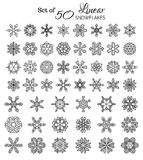 Vector Set of 50 Outlined Snowflakes. Stock Photos