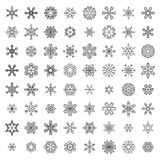 Vector Set of Outlined Snowflakes. Stock Photo