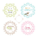 Vector set of outlined spring frames and ornaments. Royalty Free Stock Photography