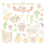 Vector set of outlined Thanksgiving design elements. Royalty Free Stock Images