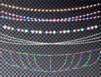Vector set of overlapping, glowing transparent light garlands isolated on a dark background. Christ. Mas string Lights. Colorful color christmas lights string Royalty Free Stock Photo