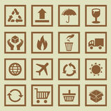 Vector set of package signs and symbols Royalty Free Stock Images