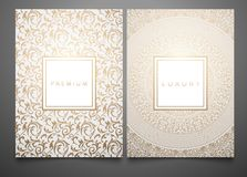 Vector set packaging templates with different golden floral damask texture for luxury product. White background and frame. Trendy design for logo stock illustration