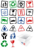 Vector set of packing symbol stamps. stock illustration