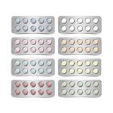 Vector Set of Packs for Multicolored Pills Royalty Free Stock Photo