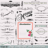 Vector Set: Page calligraphy Vol: 2 (Fine elements. Complete vector set to help build your own menu, invitation, book decoration template, or document template Royalty Free Stock Photo