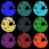 Vector set of paintbrushes in calm colors. For knitting or ice cream Stock Photography